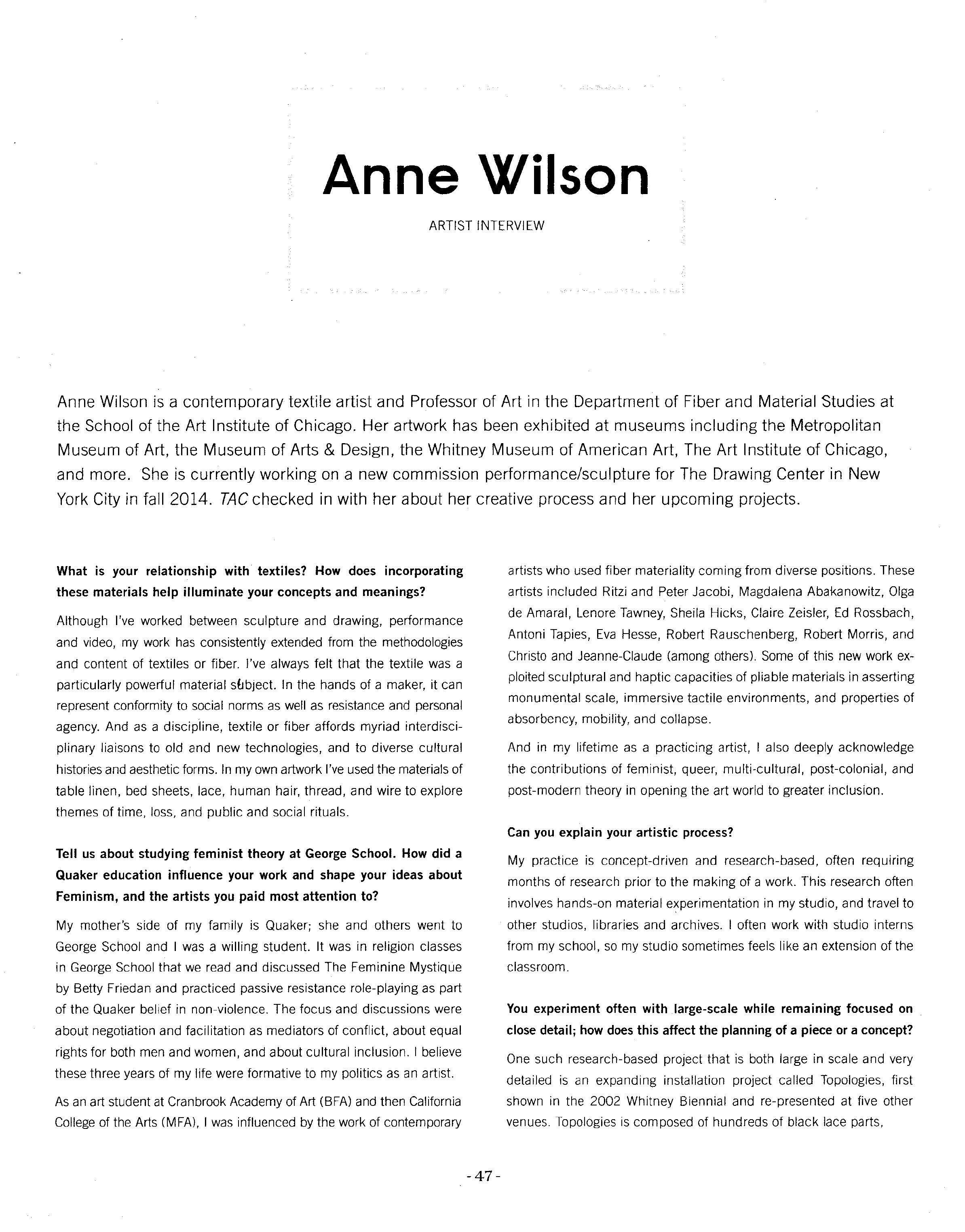 Anne Wilson Interivew 2014 PAGE 1 Final